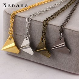 Wholesale One Direction Bands - One Direction Band Harry Styles Gold Paper Airplane Pendant Necklace Men Women Jewelry Chain Collares Choker Necklaces
