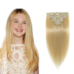 Wholesale Double Wefted Hair Extensions - Double Wefted #613 Clip In Human Hair Extensions 10pcs lot Malaysian Hair Clip Ins Straight Remy Blonde Human Hair Extensions Clip In 200G