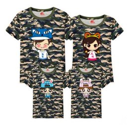 Wholesale Clothes For Father Son - Wholesale Sale Cartoon Jungle Fatigues Tee for Father and Son Summer Cotton Family Matching Outfits Mummy and Daughter Clothes