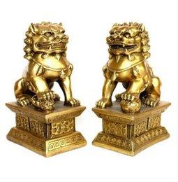 Statues de chiens chinois en Ligne-Statue de cuivre chinois en laiton sculpté chanceux Foo Dogs Lions paire de décoration de statue