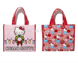 Wholesale Kitty Tote Bag - Wholesale- Cartoon Hello Kitty Reusable Shopping Bag Set of 2 Eco Friendly Tote Supermarket Bags Handbag Kawaii Schoolbag Tutorial Gift Bag
