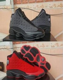Wholesale Usa Basketball Shoes - New Arrive Air Retro 13 XIII Red Black Wool Man Basketball Shoes 13S AA High Quality Wholesale Size USA 8 13 Sneaker Drop Shipping