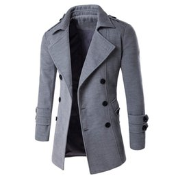 Wholesale Turn Down Overcoat - Wholesale- Autumn Winter 2016 Warm Coat Casual Double-breasted Long Wool Overcoat Fashion Turn Down Collar Male Outwear Plus Size
