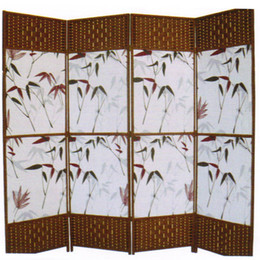 amerikanisches möbel schlafzimmer Rabatt Dekorative freistehende schwarz braun gewebt Design 4 Panel Holz Privatsphäre Raumteiler Folding Screen Nr. 4