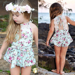 Wholesale Onesie Dresses - INS baby girl toddler Summer clothes 2piece set outfits lace floral romper onesie bloomers diaper covers playsuits Rose dress + Bow headband