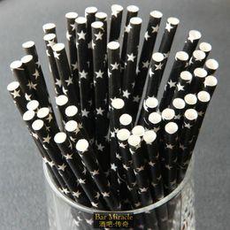 Wholesale Multicolour Paper - Wholesale-25pcs lot 19.3cm Black straw eco-friendly paper straw multicolour suckpipe art straw