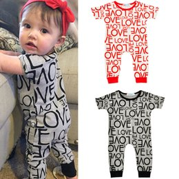 Wholesale Cute Girl Fashion Love - Fashion Love Letter Printed Baby Girls Romper Summer Short Sleeve Boy and Girls Bodysuit Cute Children Jumpsuits Clothing