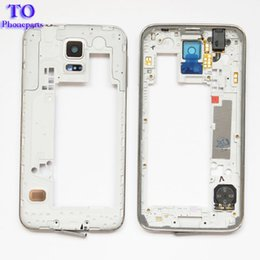 Wholesale Parts Plate - 50pcs LCD Middle Plate Housing Frame Bezel Camera Cover Replacement parts For Samsung Galaxy S5 G900F G900M G900H G900A G900V G900T