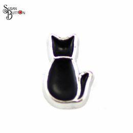 Wholesale Black Enamel Locket - Wholesale 20pcs lots black enamel cat floating charms pet floating Locket charms for glass lockets SJFC356