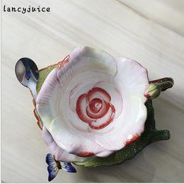 Wholesale China Porcelain Box - European Rose Mug China Coffee Tea Cup Saucer Set Gold-Rimmed Floral Ceramic Mug Gift Box Chinese Porcelain