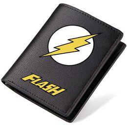 Wholesale Super Heroes Flash - Flash man wallet Super hero purse Hot movie short long cash note case Money notecase Leather burse bag Card holders