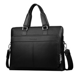 Wholesale Men Leather Bags Discount - Discounted Large Capacity Cow Leather Briefcases for Men New Fashion Brand Portfolio Laptop Bags