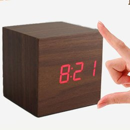 Wholesale Wooden Clock Led - Fashion vintage Digital LED Wood Square Cube Desk Shelf Sound Control Multi-function Alarm Clock home accessories