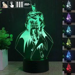 Wholesale Tables Lamp Decoration - 2017 New Remote Control 3D Batman LED Night Light 7 Color Change Table Lamp Party Home Decoration Gift