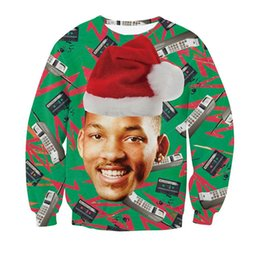 Wholesale Fresh Hats - Wholesale-Fresh Prince Christmas Crewneck Sweatshirt Character Will Smith With Christmas Hat Phones 3d Jumpers Outwear Street Sweatshirts