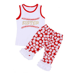 Wholesale White Ruffle Leggings - Baseball Ruffle Leggings set Children's Clothing Boutique Outfit Sleeveless Summer Clothes Red White Sport Baby Clothes Newborn