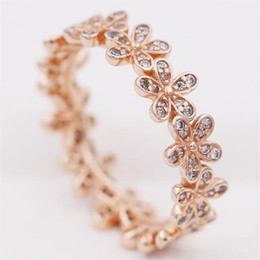 Wholesale New Style Ring For Gold - New Silver European Pandora Style Charm Jewelry Rose Gold Plated Dazzling Daisy Band Ring with Clear Cz for Women