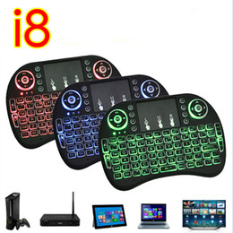 Wholesale Google Tv Mouse - Mini Rii I8 Fly Air Mouse Wireless Touchpad handheld keyboard Multi-Media Remote Control with backlight backlit Back Light For PC google tv