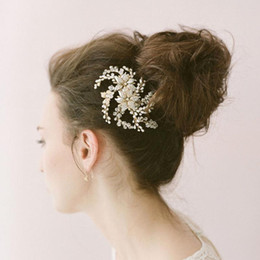 Wholesale Mini Flower Headband - Sliver Gold Pearls Mini Top Hair Comb Wedding Party Hair Accessories 2 Colors Wedding Tiara For Bridal Wedding Party