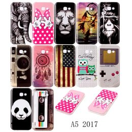 Wholesale Deer Case - Case Cover For Samsung Galaxy A5 2017 A520 Noctilucent Brighten Owl Deer Lion Panda Animals Feather Butterfly Flowers