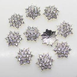Wholesale crystals for wedding decor - 100pcs 18mm Alloy Button Clear Crystal Rhinestone Silver Base For Flower Cluster Hair Flower Wedding Embellishment Decor