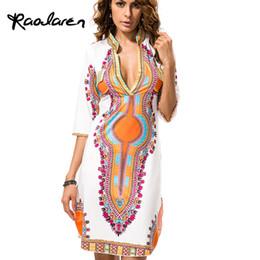 Canada Raodaren Plus La Taille En Gros Africain Vêtements Dashiki Robe pour les Femmes Casual Été Hippie Imprimer Dashiki Tissu Femme Boho Robe Femme Offre