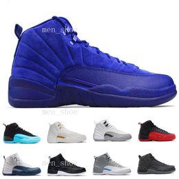 Stivali mens atletici online-[Con scatola] Scarpe da basket uomo lana Gamma blu Novità 12 Stivali sportivi Scarpe da ginnastica Colorway Grigio scuro Sneaker metallizzato argento-nero