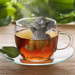 Wholesale tea bags empty wholesale - Lazy Sloth Tea Infuser Silicone Reusable Portable Tea Strainer Coffee Filter Empty Tea Bags Loose Leaf Diffuser Accessories