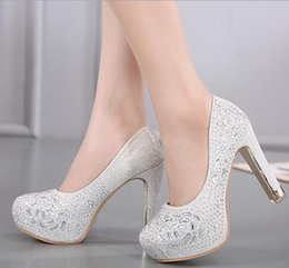Wholesale Diamond Shoes Flash - 2017 hot new spring new flashing water diamond flowers nightclub shoes with a waterproof platform with high-heeled shoes 1342