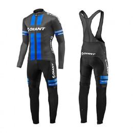 Maillot de manga larga gigante online-Moxilyn Giants pro Racing Team Jersey de ciclismo de manga larga de invierno térmica paño ciclismo paño y kit babero pantalones