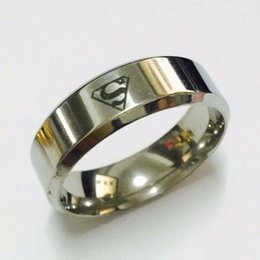 Wholesale Cool Rings For Men - Cool boys girls 8mm white gold silver color superman hero rings for men women high quality