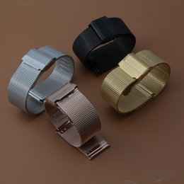 Wholesale Shark Watch Gold - High Quality Stainless Steel watch straps 14 16 18 20mm For DW Rose gold Silver shark mesh metal watch bracelets straight ends men women hot