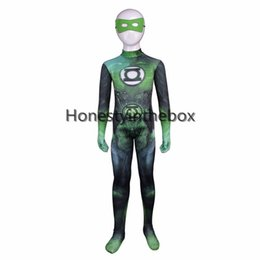 Superhero completo online-Halloween Superhero Green Lantern Cosplay Body Traje Niños Green Lantern Lycra Spandex Full Body Zentai Suit For party