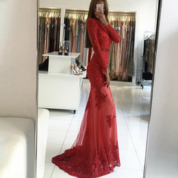 Wholesale One Shoulder High Split Dresses - 2017 Free Shipping Glamorous Red Evening Gowns High Neck Appliqued Beaded Pearls Keyhole Back Long Sleeve Mermaid Prom Dresses