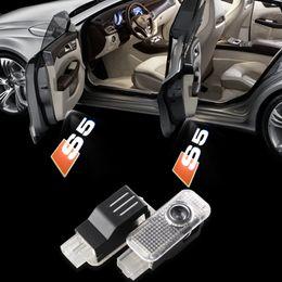 Wholesale door led logo audi - 2X LED Audi S5 Car Door Logo Light HD brightness 3D Ghost Shadow Courtesy Laser Projector Welcome Lamp bulb
