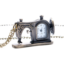 Wholesale Sewing Machine Watch - Wholesale-Antique Bronze Sewing Machine Pocket Watch Necklace Pedant Xmas Gift P515 Relogio De Bolso