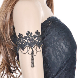 Wholesale Belly Dancer Wholesale - Black Tassel Belly Dance Square Dancer Flower Accessories New Lace Arm Chain Arm Ring BR9640