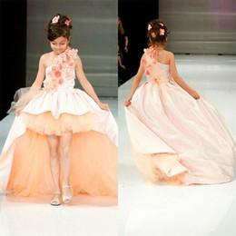 Wholesale One Shoulder Dresses For Juniors - 2017 Girls Pageant Dresses High Low 3D Flowers Junior Bridesmaids Dresses For Kids One Shoulder Satin Tulle Girls Christmas Dresses Cheap
