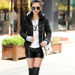 Wholesale padded jackets women plus size - Women Down Coats 2017 Winter Plus Size Hooded Thicken Outerwear Solid Cotton Padded Slim Fashion Short Female Jackets Parkas