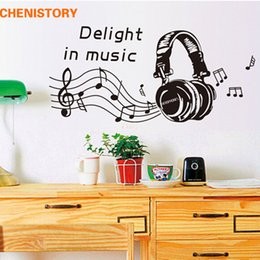 Wholesale Music Vinyl Wall Art - Delight In Music Headset Instrument Wall Stickers Removable Vinyl Wall Decals For Mural Wall Art Stickers Room Decoration