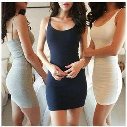 Wholesale Basic Mini Dress - 2017 Fashion Women Sexy Backless Basic Dresses Sleeveless Slim Vestidos Vest Tanks Bodycon Dress Strap Solid Party Dress