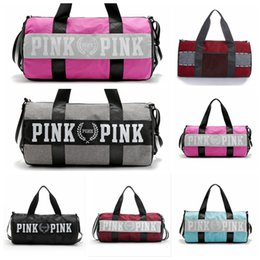 Wholesale Brown Felt Fabric - 7 Colors Brand New Men Women Handbags Pink Letter Large Capacity Travel Duffle Striped Waterproof Beach Bag Shoulder Bag 30pcs lovebag