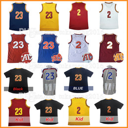 Wholesale Basketball Purple Gold - Men's 23 LeBron 2 Kyrie Irving James Basketball Jerseys Stitched 2017 All star Christmas Kevin LoveThrowback Jersey Sleeve Tshirt Youth Kid