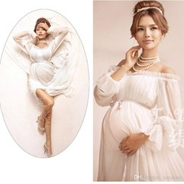Wholesale Wedding Dresses Pregnant Brides Chiffon - Free size Lace Maternity Dresses Free Charge Pearl Two Layer Gauze Photography Props Pregnant Long Dress Bride Wedding Pregnancy Clothes
