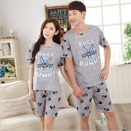 Wholesale Cute Rabbit Wearing Clothes - Wholesale- 2017 new summer lovers' pajamas sets short sleeved rabbit cute men&women sleepwear silk Cartoon Leisure Home wear loose clothes