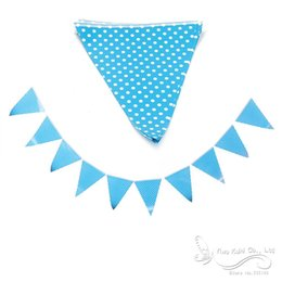 Wholesale Blue Desserts - Wholesale- Bunting Flags Banner Happy Birthday Party Dessert Table Decor Blue+White Style