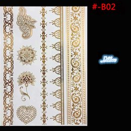Wholesale Metal Sun Art - Wholesale- # - B02 metal fake gold tattoo One-time temporary tattoos Will change the color of the tattoo in the sun Body art flash tattoos