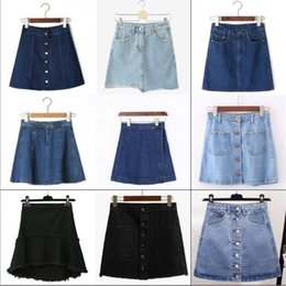 Wholesale Korean Jeans Skirts - Mixed colors and sizes A-line Women's Korean Style Mini Jeans Skirt Ladies Casual High Waist Denim Blue Zipped Skirts saia feminina