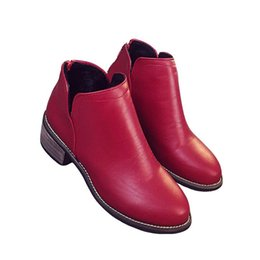 Wholesale Zipper Winter Boots For Women - Wholesale-New autumn and winter short boots with chuncky heels back zipper martin boots ankle boots for women with thick scrub