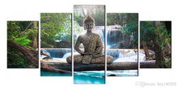 Wholesale Large Abstract Wall Paintings - YIJIAHE Abstract Print Canvas Painting Buddha 5 Piece Canvas Art Wall Pictures for Living Room Large Wall Art R273 Framed